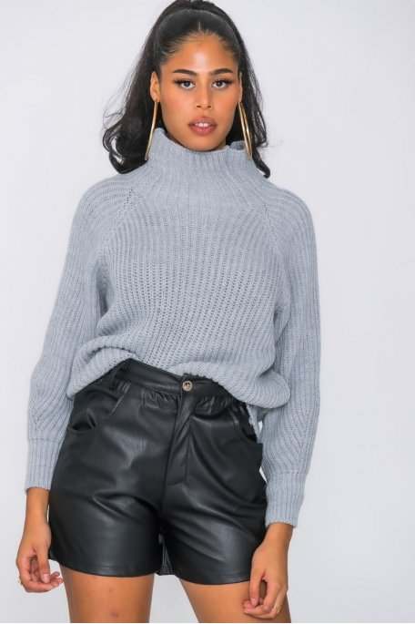 Pull en maille col montant gris