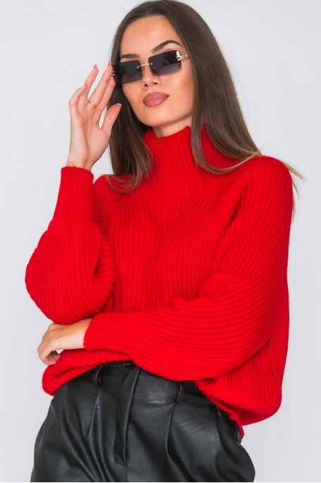 Pull en maille col montant rouge