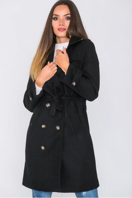 Manteau style officier ceinturé boutonné noir