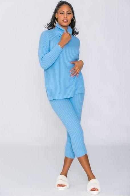 Ensemble pantalon pull col roulé côtelé bleu