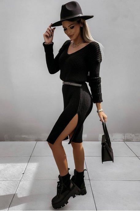 Robe pull fendue midi noir