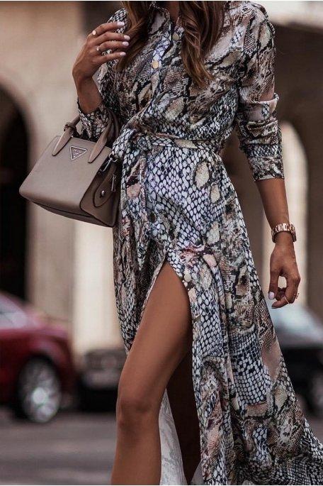 Robe chemise longue imprimé python noir