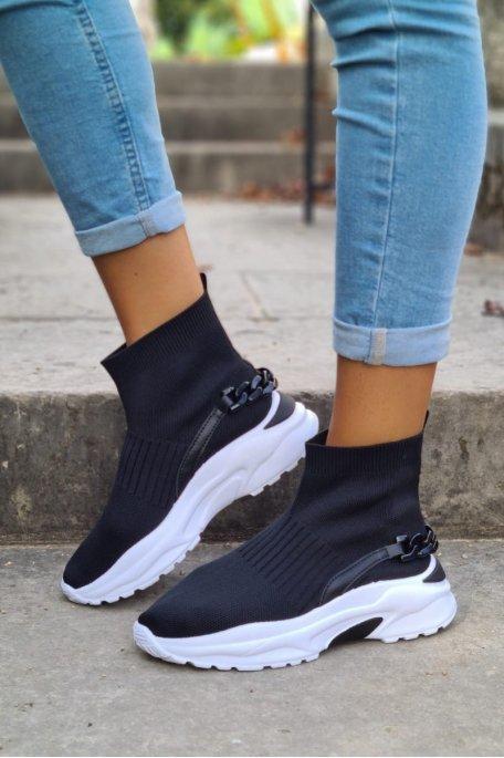 Baskets chaussettes chaîne noir