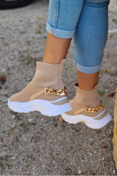 Baskets chaussettes chaîne beige
