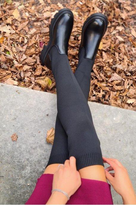 Cuissardes bi-matière chaussettes noir