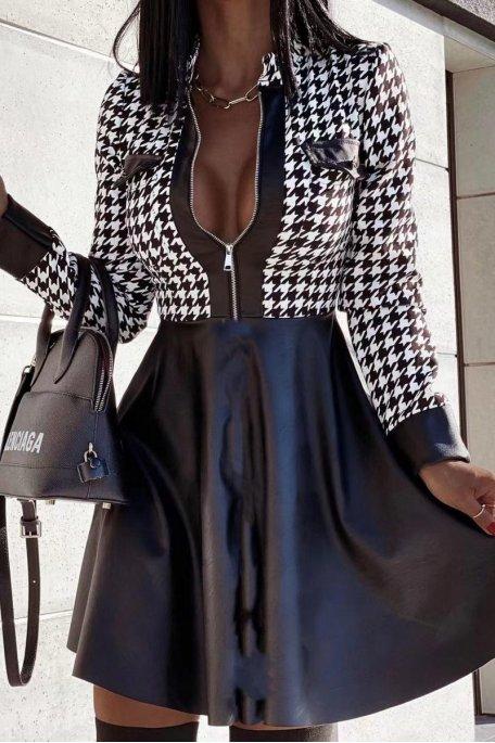 Robe bi-matière pied-de-coq simili noir