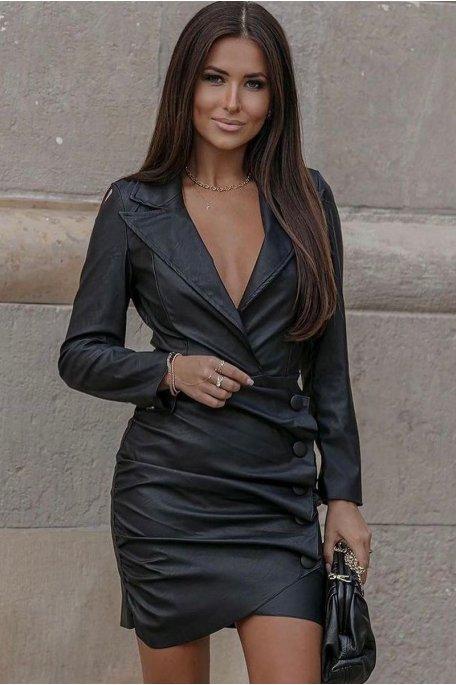 Robe style blazer simili cuir noir