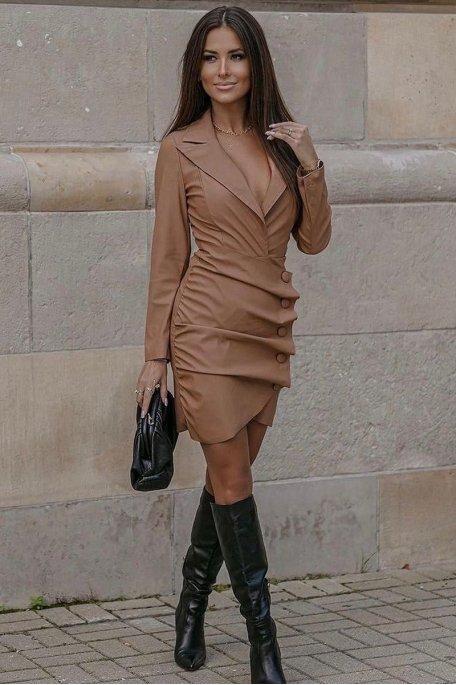 Robe style blazer simili cuir camel