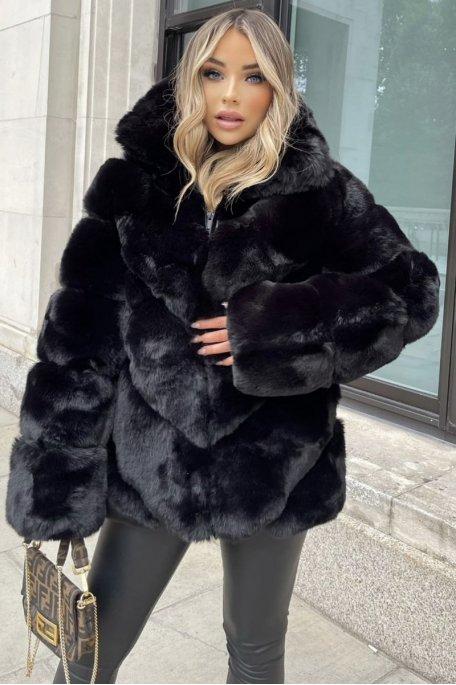 Manteau fausse fourrure molletonnée noir