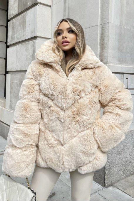 Manteau fausse fourrure molletonnée beige