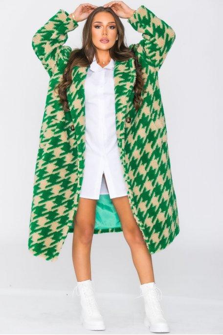 Manteau long teddy pied de coq vert
