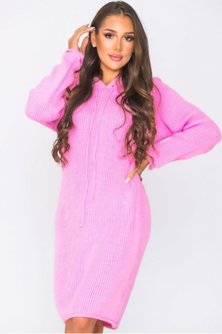 Robe pull capuche en maille rose