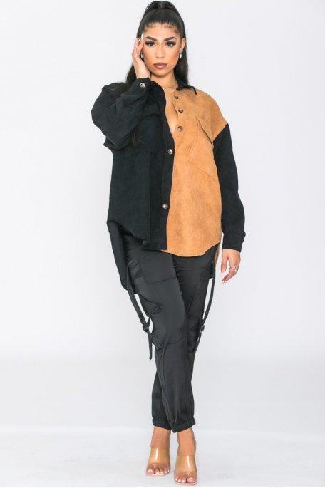 Surchemise bicolore côtelée velours noir