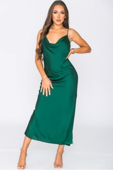 Maxi satin dress with straps in Green