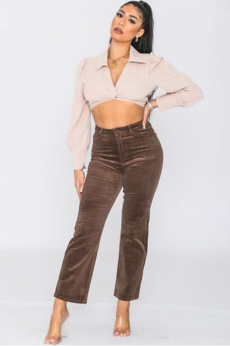 Pantalon coupe droite velours marron