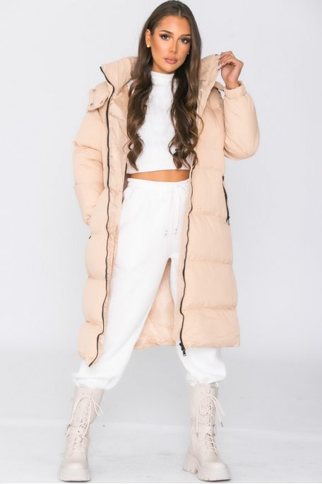 Doudoune longue à capuche beige