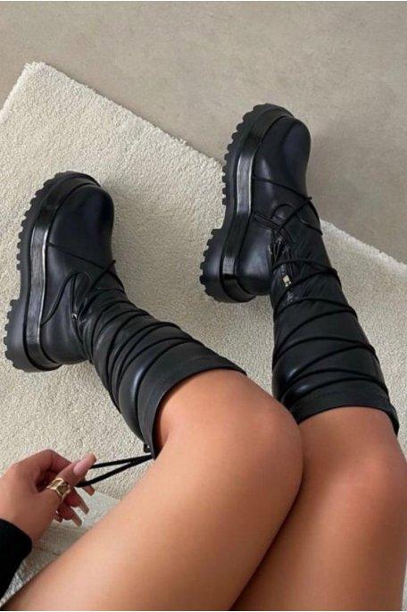 Bottes plateforme à lacets noir