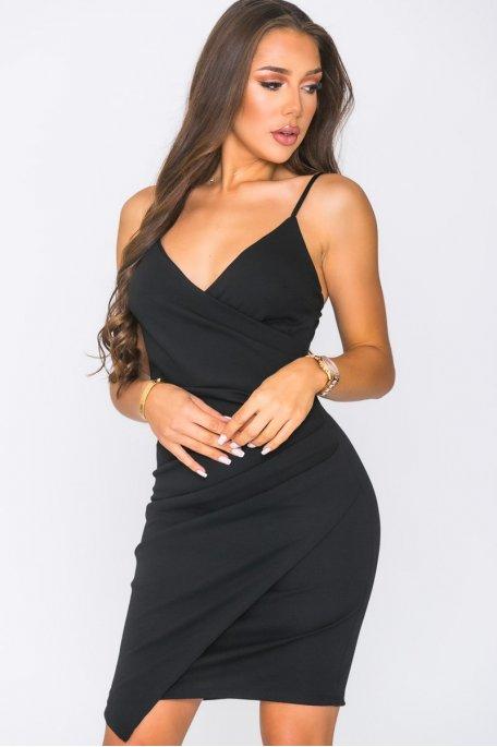 Robe courte fendue à bretelles noir