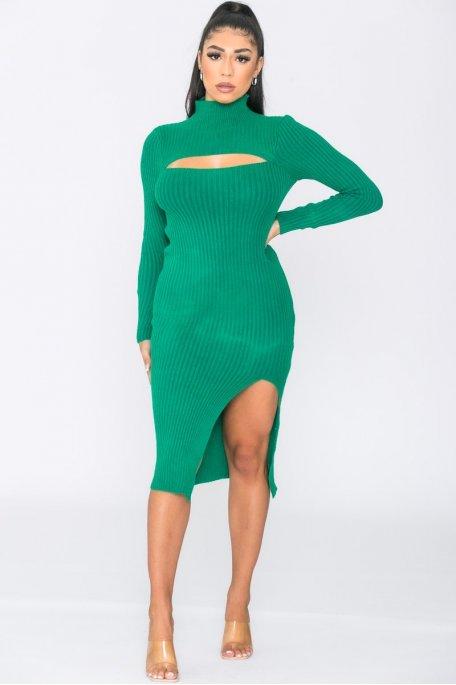 Robe maille longue ajourée fendue vert