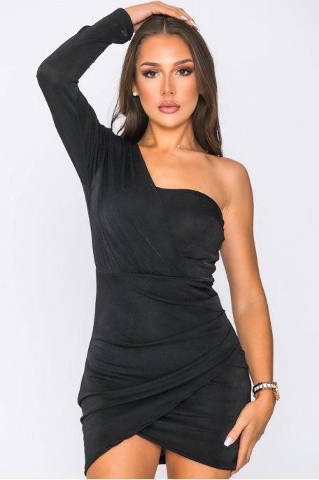 Robe courte asymétrique noir