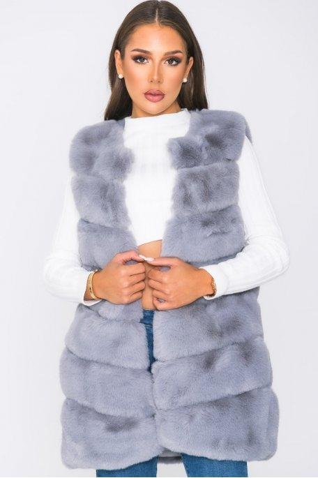 Veste sans manche fausse fourrure gris