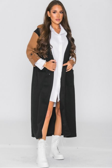 Manteau bicolore noir
