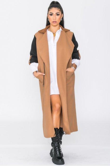 Manteau bicolore camel