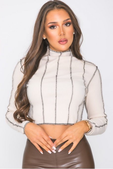 Top moulant coutures apparentes beige