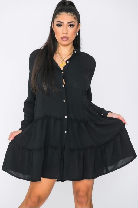 Robe chemise volants noir