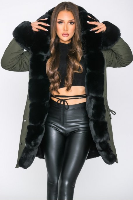Faux fux lined parka jacket with hood in khaki