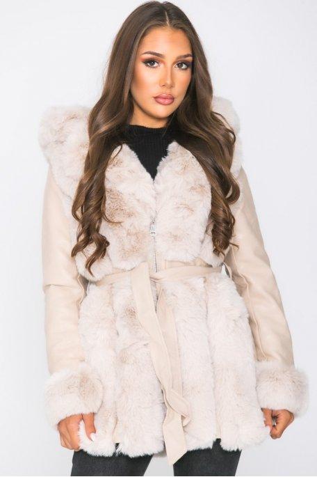 Manteau simili fausse fourrure ceinturé beige