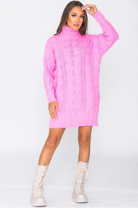 Robe pull en maille tressée rose