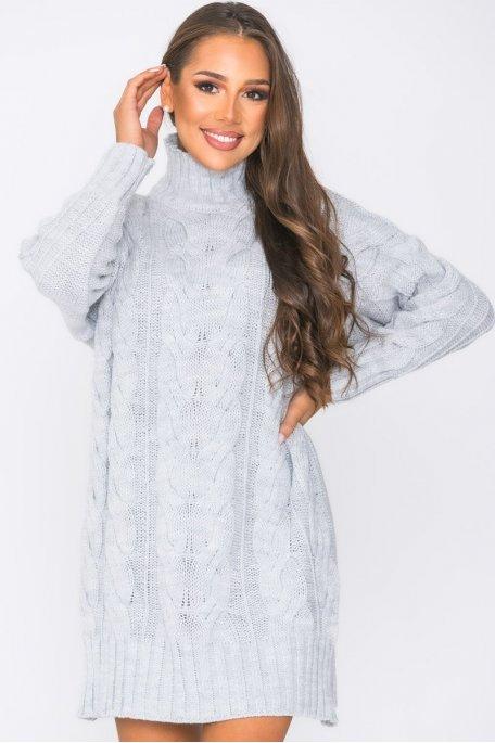 Robe pull en maille tressée gris