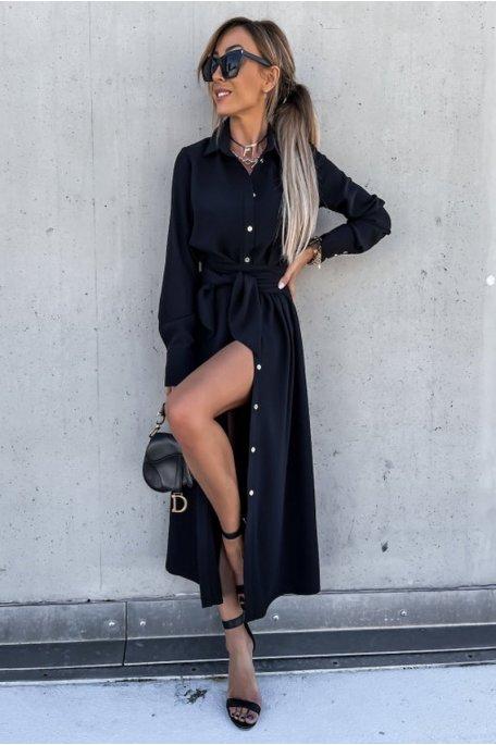 Robe chemise longue ceinturée noir