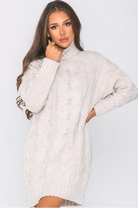 Robe pull en maille tressée beige