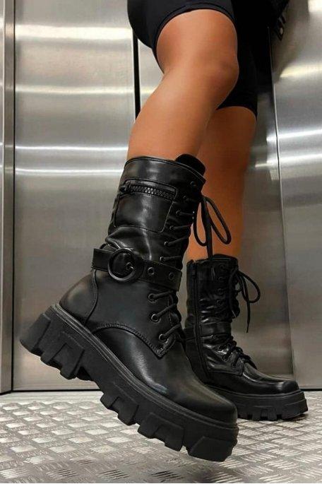 Boots chunky lanière noir