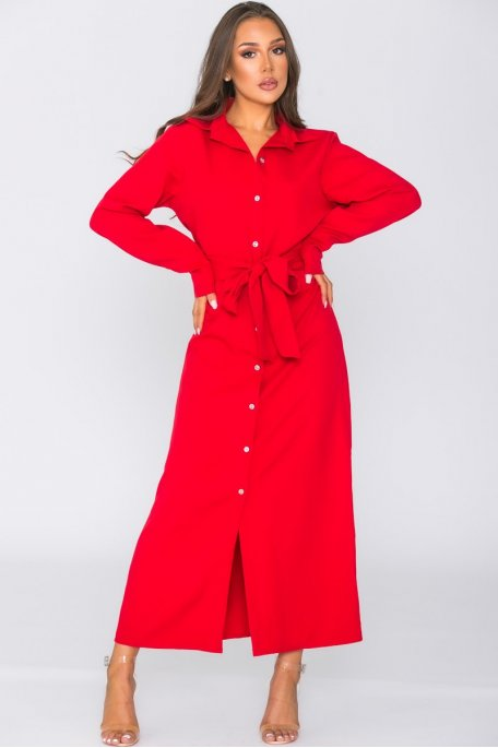 Robe longue ceinturée boutonnée rouge