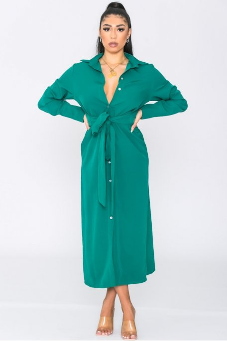 Robe longue ceinturée boutonnée vert