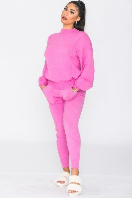 Ensemble en maille pull pantalon rose