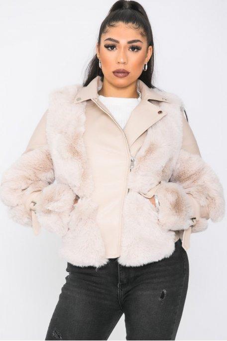 Manteau court simili fausse fourrure poches beige