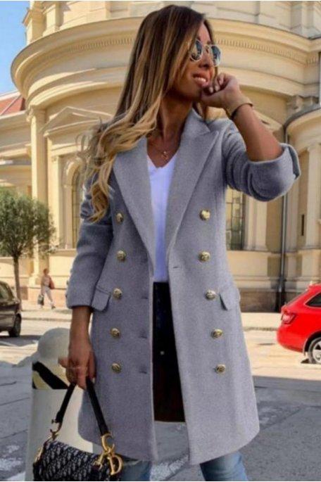 Manteau cintré style officier gris