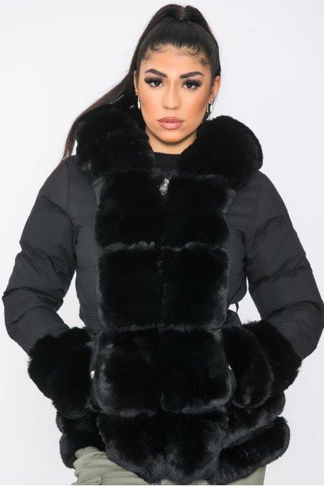 Doudoune longue fausse fourrure capuche noir
