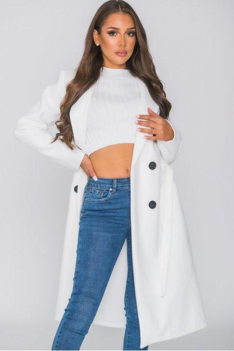 Manteau long ceinturé boutons blanc