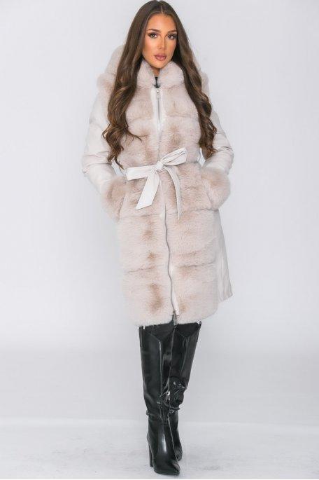 Manteau long fausse fourrure beige