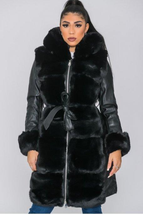 Manteau long fausse fourrure noir