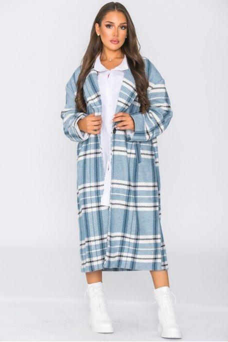 Manteau long boutonné à carreaux bleu