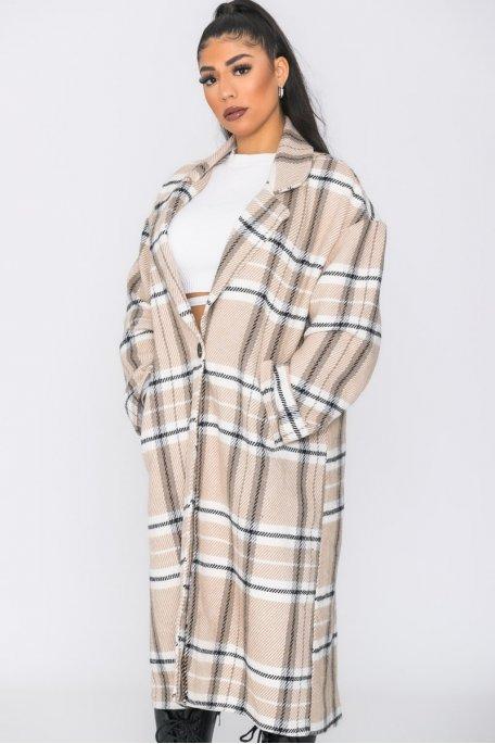 Manteau long boutonné à carreaux camel