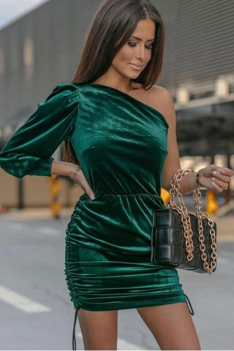Robe en velours épaule ouverte vert